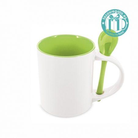 Taza personalizada con cucharilla verde