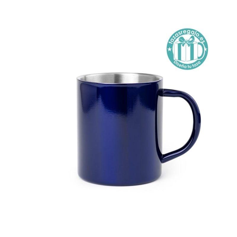 Taza de acero color azul personalizada
