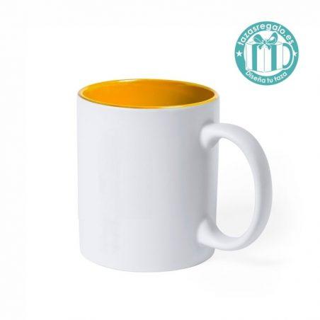 Taza personalizada láser interior amarillo