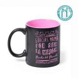 Taza negra personalizada con motivo del Día de la Madre