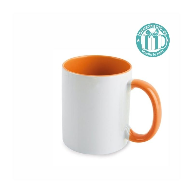 Taza personalizada con interior y asa naranja